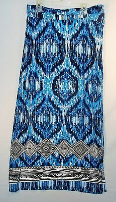 ND New Directions size L/Large Blue Maxi SKIRT Black Stripe Stretch White