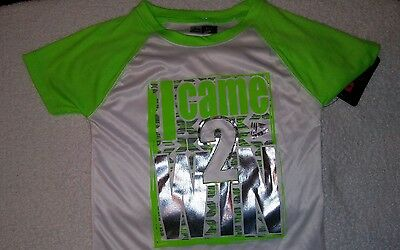 """RBX """"I Came 2 Win"""" Toddler Shirt size Medium (5/6) White and Neon Green"""