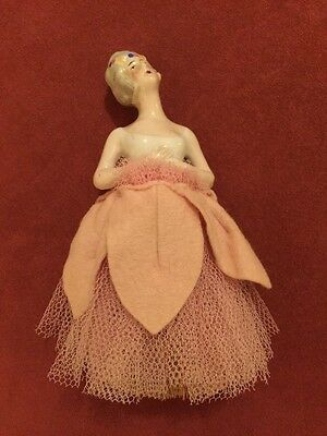 Vintage Porcelain Pin Cushion Half Doll  With Brush  German