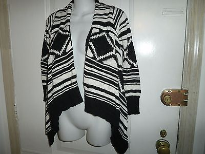Justice Girl's  Trendy Black And White Open Draped Fly Away Sweater Size 10