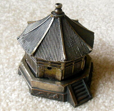 Vintage Japanese BUDDHIST TEMPLE With Dragons Metal Incense Burner Made in Japan