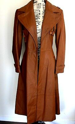 Espagna women's vintage leather trench coat size 14-16