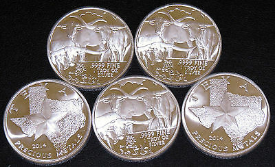 Lot Of #5 2014 1 Troy Oz Silver Texas Rounds-.9999 Fine Bullion Longhorn Reverse