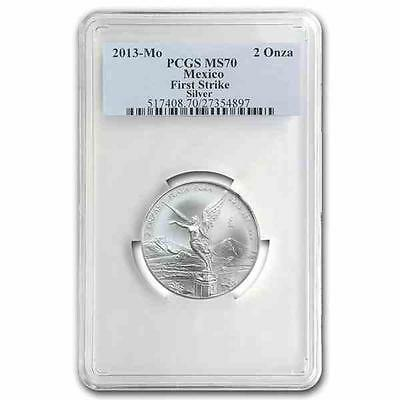 New 2013 Mexican Silver Libertad 2oz First Strike PCGS MS70 Graded Silver Coin