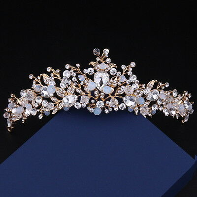 7cm High Gold Sparking Crystal Beads Peal White Wedding Party Pageant Prom Tiara
