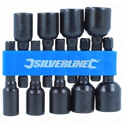 """9Pc SILVERLINE 1/4"""" Hex MAGNETIC Nut Driver Set Imperial CR-V Power Drill Bits"""