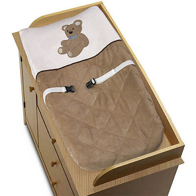 Sweet Jojo Design Changing Table Pad Cover for Brown Teddy Bear Baby Bedding Set