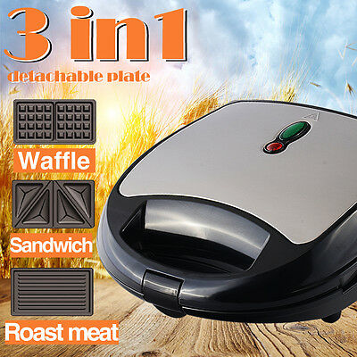 Toolrock 3-in-1 Non Stick Snack Maker Electrical Sandwich Waffle Doughnut Grill