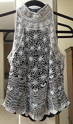 Papell Boutique Evening Halter Top ~ Sz PS ~ Silk Black Silver White Bead Sequin