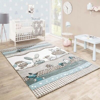 Childrens Rug Kids Room Soft Thick Carpet Cute Farm Animals Design Nursery Mat