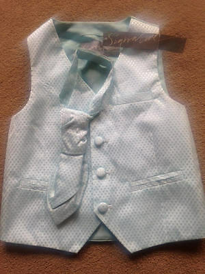BNWT NEXT Signature Mint Green Waistcoat and Cravat Set 18-24 Months