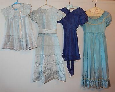 4 Vintage 1940's Girls Rayon Party & Easter Church Dress Lot Blue Ruffles & Lace