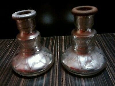 "Pair Embossed Antique Early Mercury Glass Candlesticks ~4"" Lighting Decorative"
