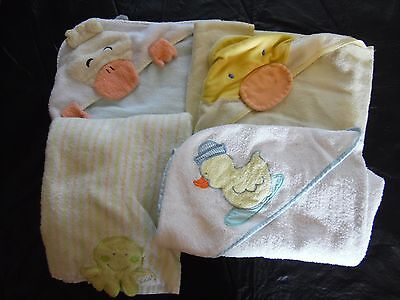 Baby Towels-Lot4-Yellow/blue/green/white-Great For Bathtime
