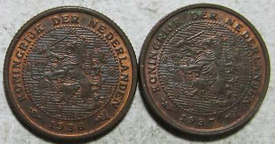 Netherlands, 1/2 Cents, 1936 & 1937, Uncirculated, Some Luster, Bronze