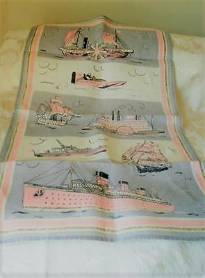 Vintage 1950's Linen Kitchen Towel With Boats Ships Pink Gray Off White