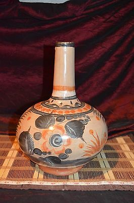 """Vintage Mexican Hand Painted Pottery Vase Water Vessel Jug  12""""x8 1/2"""""""