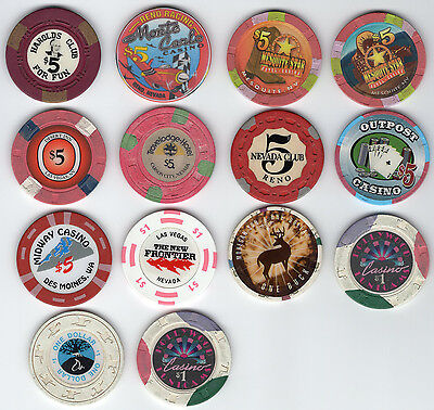 Group of 14 Mostly Nevada Casino Chips, $5 and $1