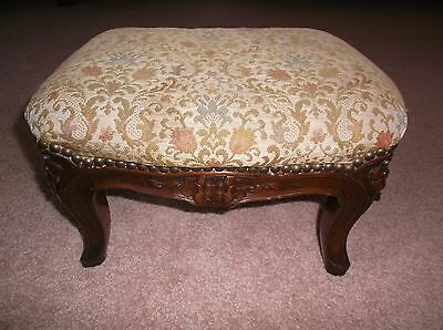 Vintage Antique Footstool Ottoman Needle Point Tapestry Carved French Foot Stool