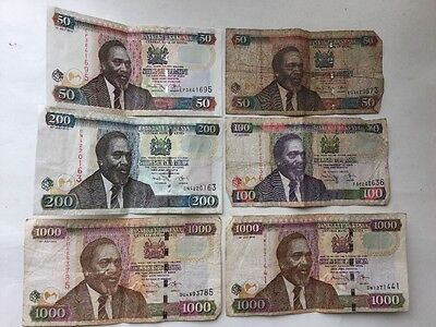KENYA LOT SET 6 pieces paper money NOTES circulated