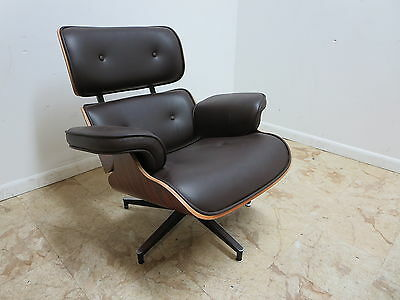 Plycraft Leather Rosewood Lounge arm Chair Mid Century Style