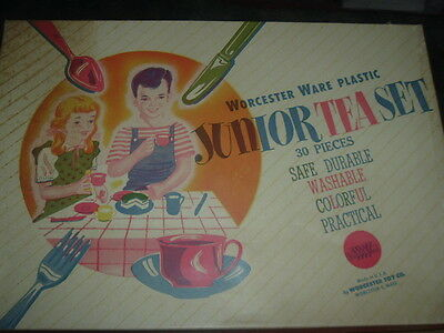 1940's Worcester Toy Company, Junior Tea Set Never Used Service for Four Plastic