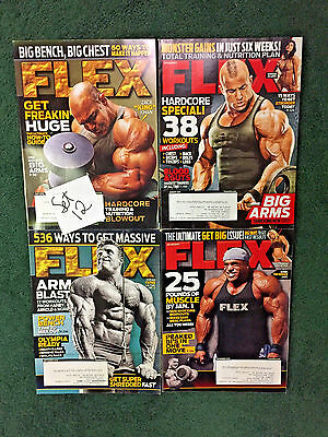 Set of 4 Flex Magazine's, Featuring King Khan,Dennis James and Dorian Yates