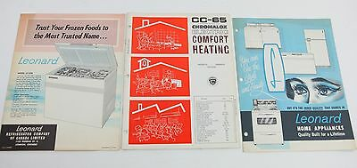 Vintage 1960's Leonard Appliances Chromalox Home Heating Fold Out Advertisements