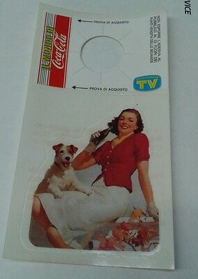 Vintage CUTE GAL + DOG Coca Cola Coke STICKER Decal Bottle Hanger ITALY RARE