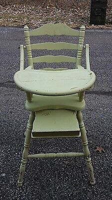 Antique Hitchcock? OakHill? Baby Wooden High Chair Vintage Green Ladderback