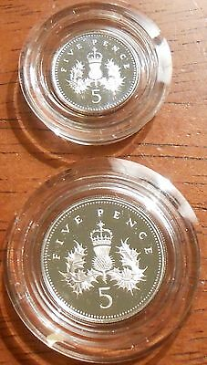 1990 United Kingdom Silver Proof Five Pence Two-Coin Set