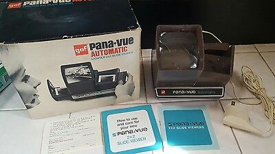 Vintage GAF Pana-Vue Automatic Lighted 2x2 Slide Viewer w/ Box FREE SHIPPING