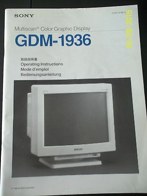 Sony Multiscan Color Graphic Display GDM-1936 Operating Instrucions