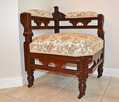 Eastlake Antique Carved Wooden Corner Chair, Upholstered Arms & Back, Very Nice!