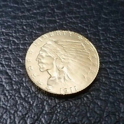 1911 $2.5 INDIAN HEAD Reprod. GOLD PLATE COIN Quarter Eagle
