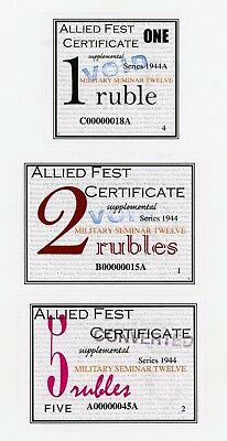 1, 2, and 5 Ruble - Allied Fest / MPC Fest Certificates CU