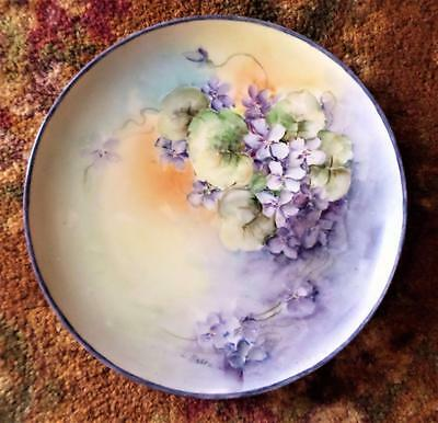 """Antique Hand Painted Violets Plate Haviland France Signed Moore 8 1/2"""" Gorgeous"""