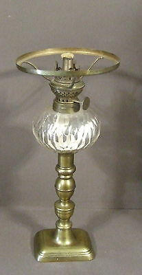 Antique Art Deco Brass And Cut Glass Oil Lamp Base