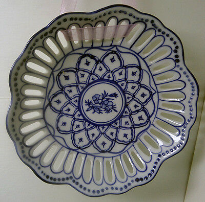 vintage decorative plate bowl blue white  reticulated heart edge 6 inches