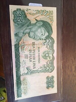 1968 Bank Of Indonesia 25 Rupiah Note