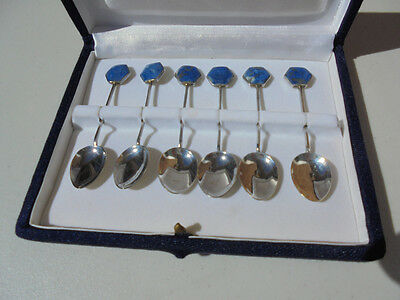Set of 6 Sterling Silver & Mineral Demitasse Spoons Roncaly Chile in Box