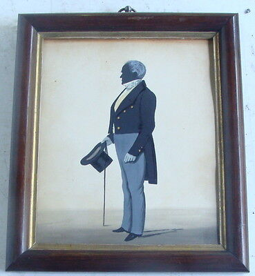 19th C framed ink & watercolor silhouette of a gentleman, signed *