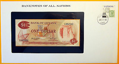Guyana 1983 - $1 - Uncirculated Banknote enclosed in stamped envelope