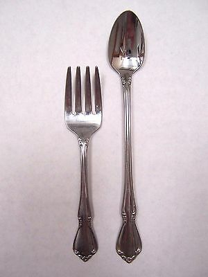 Oneida Stainless Steel Chateau Pattern Infant Baby Child  Feeding Spoon & Fork