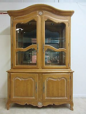 Ethan Allen Country French Bisque China Cabinet Hutch Curio Display