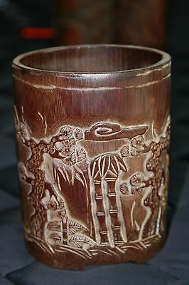 Chinese Hand Carved Bamboo Brush Pot, Large