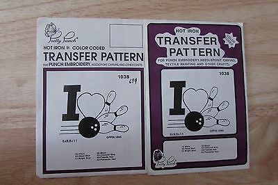 Pretty Punch Hot Iron Color Coded Transfer Pattern Punch Embroider Craft Bowling