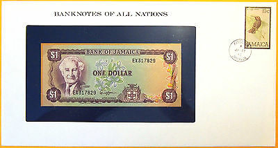 Jamaica 1981 to 1983 - $1 - Uncirculated Banknote enclosed in stamped envelope