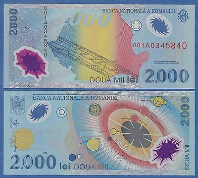 Romania 2000 Lei  1999 Uncirculated & Crisp Polymer Bank Note With Free Shipping