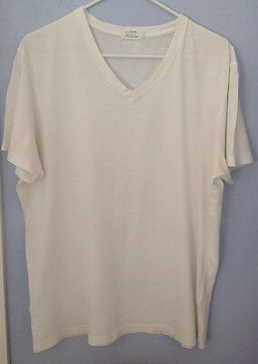 J Crew Mens L T-shirt Broken-In Tee White Shirt V Neck Solid Short Sleeve Cotton